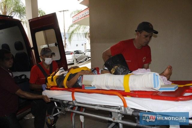 Francidalva foi socorrida com uma grave contusão no joelho direito. Foto: Manoel Messias/Mil Noticias
