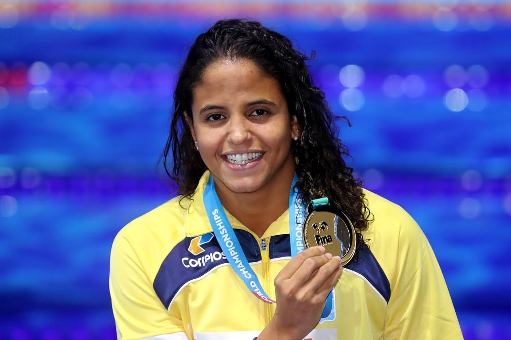 Etiene Medeiros ouro 50m costas mundial natação budapeste (Foto: Satiro Sodré/SSPress/CBDA)