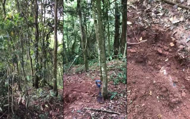 Imagens feitas por policiais do cemitério clandestino em Mauá (Foto: Divulgação/Deic).