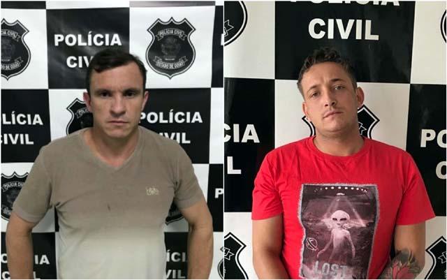 Vereador Gleiton Luiz Roque e o assessor Carlos Alberto de Oliveira Filho estão presos em Inhumas (Foto: Polícia Civil/ G1)