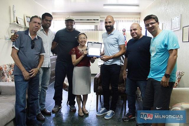 """A partir da dir., Capitelli, """"Bugio"""", Bruno Rodrigo, Tamiko, Messias, Fabrício Carvalho e Marcos Rocha. Foto: Secom/Prefeitura"""