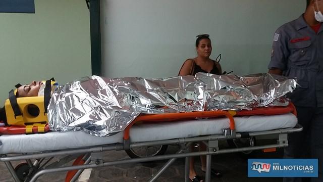 Mulher foi socorrida com três dentes quebrados, corte no lábio superior e escoriações pelo corpo. Foto: MANOEL MESSIAS/Agência
