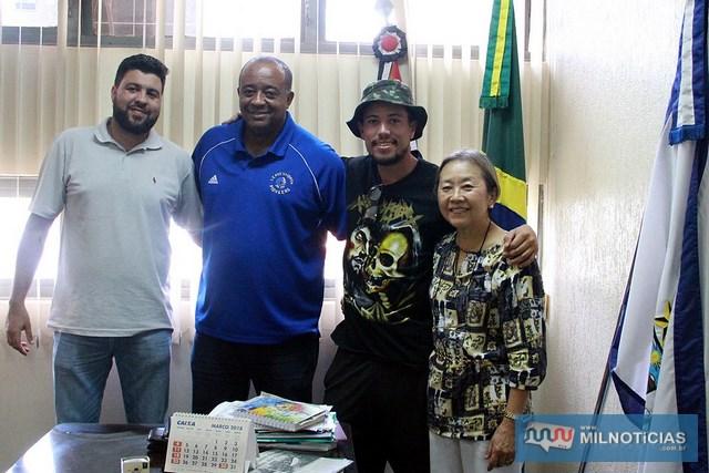 A partir da direita: Tamiko, Samuel Jimmy, Messias e Juliano Silva. Foto: Secom/Prefeitura