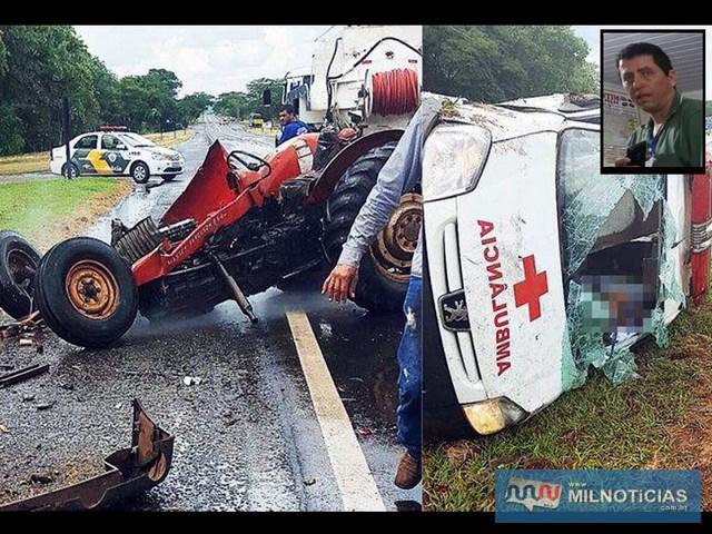 Motorista da ambulância (detalhe), morreu depois que trator bateu em veículo em rodovia de Barbosa (SP). (Foto: Whats Ap internauta)