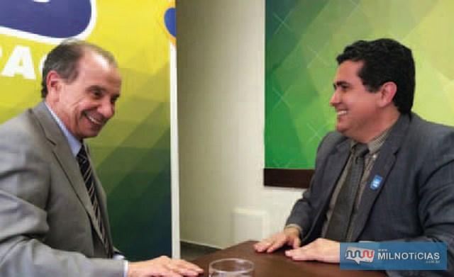 Ex-diretor executivo da Fundação Itesp, gestão 2010-2017, Marco Pilla (dir.), e o senador Aloysio Nunes Ferreira, atualmente ministro das Relações Exteriores. Foto: Assessoria de Imprensa