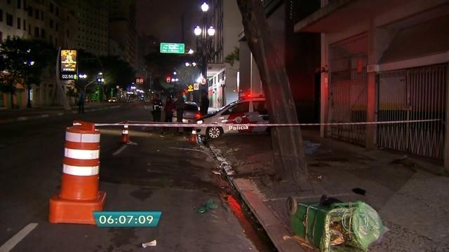 Local onde gari foi atropelado na Avenida São João, Centro de São Paulo, em 2015 (Foto: Reprodução/TV Globo).