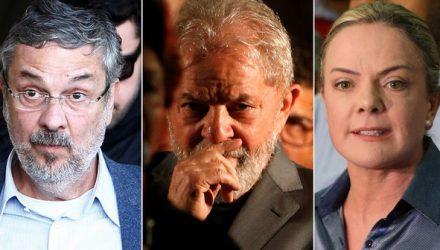Da esq. para a dir., o ex-ministro Antonio Palocci, o ex-presidente Luiz Inácio Lula da Silva e a senador Gleisi Hoffmann. Arte: G1