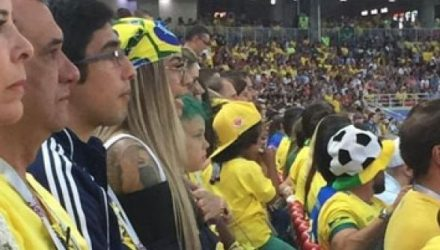 Imagens mostram vereador dentro do estádio do jogo entre Brasil x Sérvia. (Foto: Luiza Oliveira/UOL)
