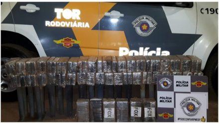 Aproximadamente 100 quilos de cocaína foram apreendidos pelo TOR na noite desta terça-feira (5) na Rodovia Washington Luís (SP-310), em Ilha Solteira (SP) (Foto: PRE/Divulgação)