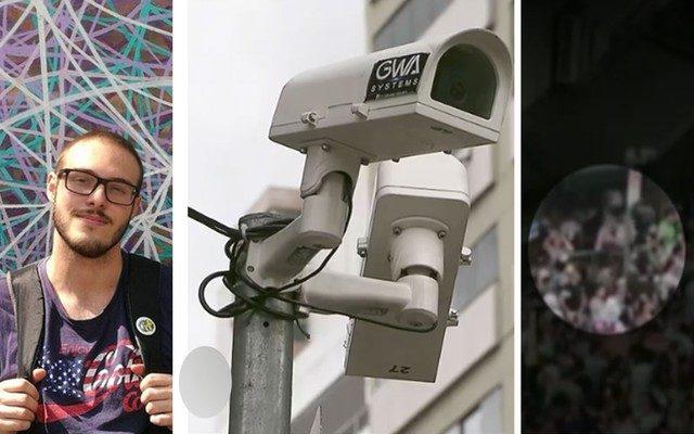 Lucas Lacerda (à esquerda), câmeras instaladas em poste suspeito de ter ficado energizado e gravação que mostra folião tomando choque após tocar em poste (Foto: Reprodução/Arquivo Pessoal/TV Globo).