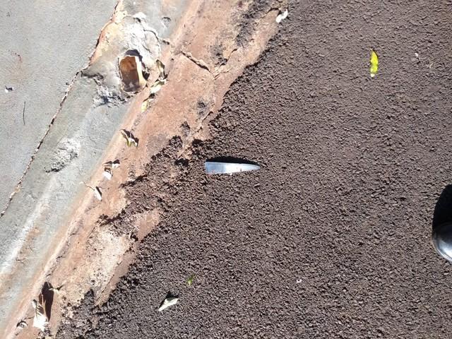 Parte de uma das facas usadas pelo vigilante para matar a mulher em Ituverava, SP (Foto: Polícia Militar/Divulgação).