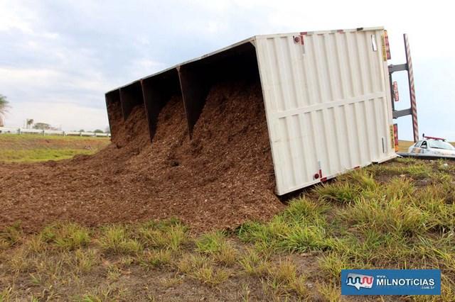 Carga de aparas de eucalipto que a carreta transportava ficou esparramada fora da pista de rolamento. Foto: MANOEL MESSIAS/Agência