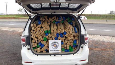 Grande quantidade de droga estava em fundo falso de veículo Ford F4000 — Foto: Polícia Rodoviária/Cedida.
