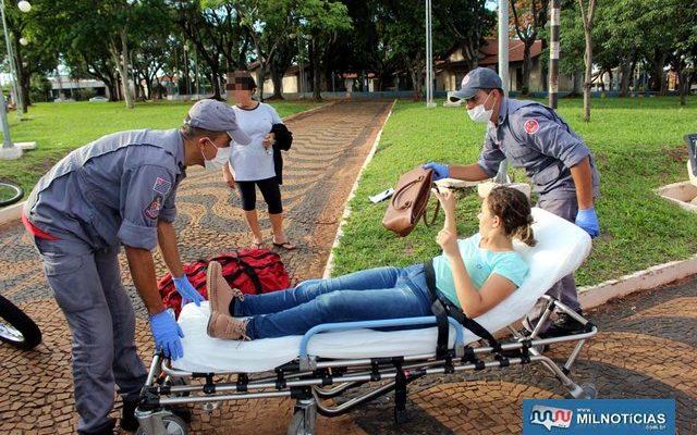 Ciclista sofreu escoriações leves pelo corpo e uma contusão na coxa da perna direita. Foto: MANOEL MESSIAS/Agência