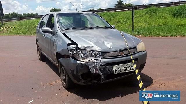 Fiat Pálio sofreu quebra do farol, parachoque, amassamentos do capô, paralama, todos lado dianteiro direito. Foto: MANOEL MESSIAS/Agência