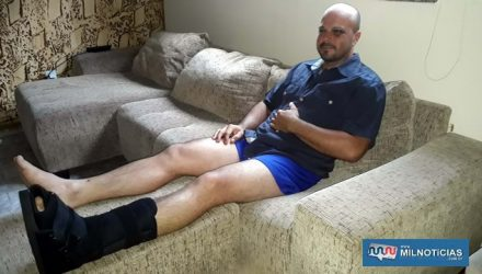 Cabo PM Berti se recupera das graves fraturas em sua casa. Foto: MANOEL MESSIAS/Mil Noticias