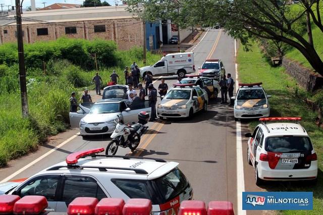 Cerco policial aconteceu em uma via que dá acesso para a rodovia Marechal Rondon. Foto: MANOEL MESSIAS/Mil Noticias