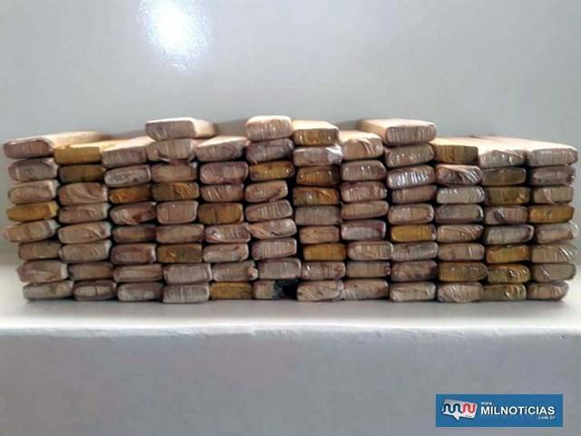 Foram apreendidos 100 tijolos de maconha, totalizando 71 quilos. Foto: MANOEL MESSIAS/Mil Noticias