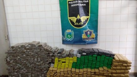 No carro havia 572 tabletes de maconha — Foto: PMR/Divulgação.