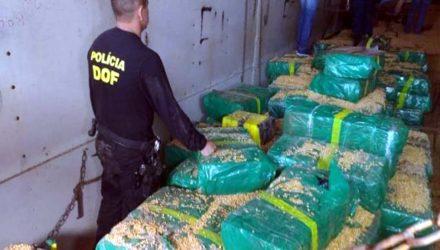 Mais de 10 toneladas de maconha estavam escondidas em carreta carregada com milho a granel - Imagem: Divulgação / DOF