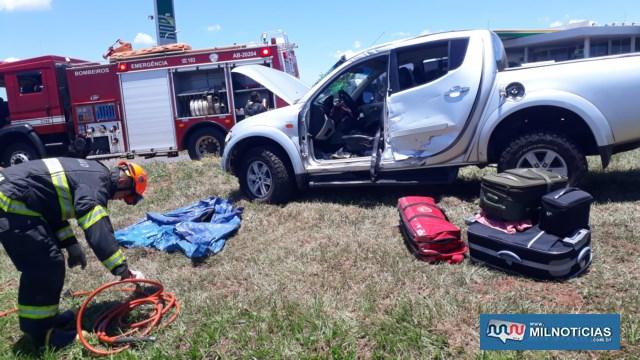 Caminhonete Mitsubishi de Várzea Grande/MT, sofreu grandes prejuízos materiais e não tem condições de trafegabilidade. Foto: MANOEL MESSIAS/Agência