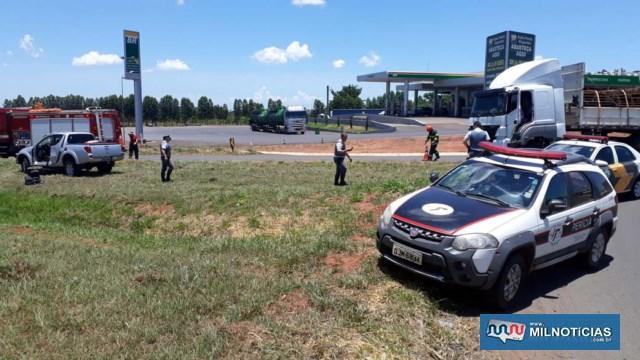 Acidente aconteceu no trevo da Rodovia Integração com Av. Rio Grande do Sul. Foto: MANOEL MESSIAS/Agência