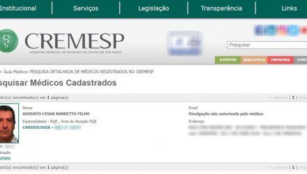 Registro de Augusto César Barretto Filho no Conselho Regional de Medicina do Estado de São Paulo (Cremesp) — Foto: Reprodução