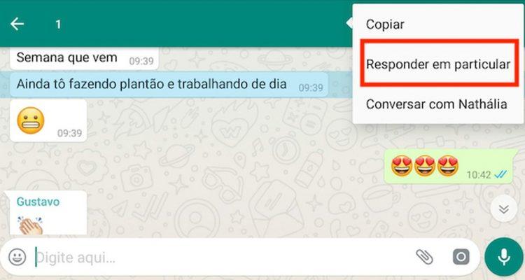 """Função """"responder em particular"""", do WhatsApp — Foto: Reprodução."""