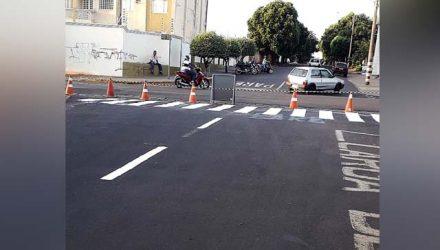 Rua Paulo Marin entre a avenida Bandeirantes e a Rua São Paulo passa a ser de mão única devido a instalação de semáforo. Foto: Secom/Prefeitura