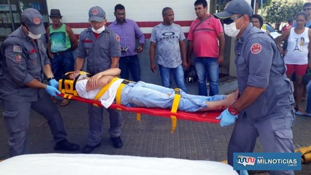 Vítima foi socorrida pelos bombeiros até a UPA – Unidade de Pronto Atendimento, passando por exames de raio X. Foto: MANOEL MESSIAS/Agência