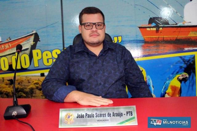 Vereador João Paulo ocupara a 2ª secretaria da Câmara de Castilho. Foto: MANOEL MESSIAS/Agência