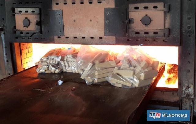 Incineração de 660 kgs de maconha aconteceu na manhã de quinta-feira (06), com forte esquema de escolta. Fotos: Polícia Civil/Divulgação