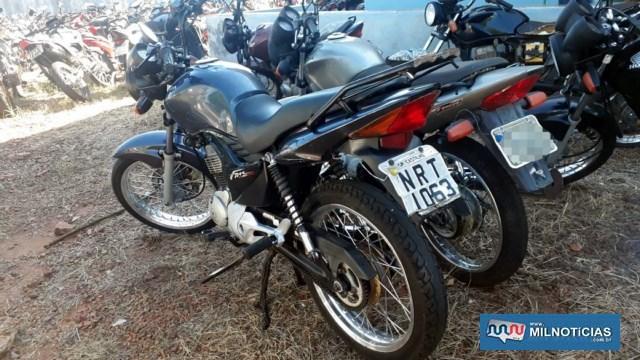 Moto usada pelo acusado para procurar ajuda médica em Andradina foi apreendida. Foto: MANOEL MESSIAS/Agência