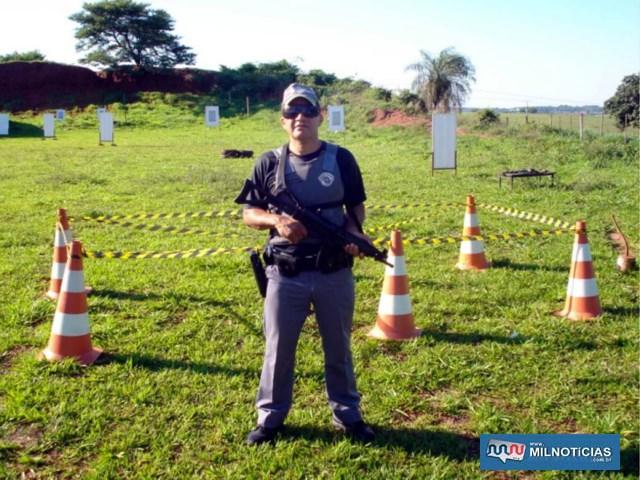 PM Faustino em um dos inúmeros treinamentos de tiro. Foto: Arquivo Pessoal