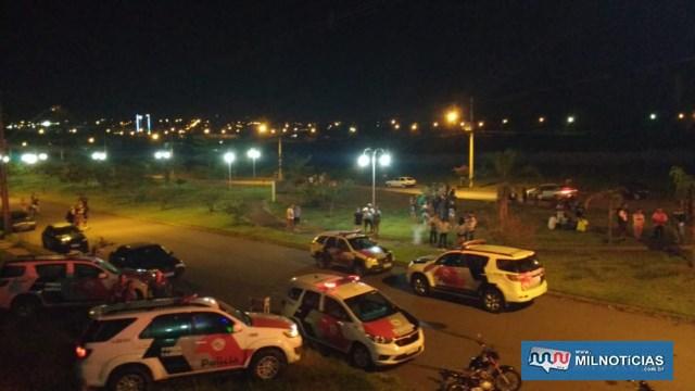 Todas as viaturas de serviço foram deslocadas para a operação saturação na festa irregular. Foto: DIVULGAÇÃO