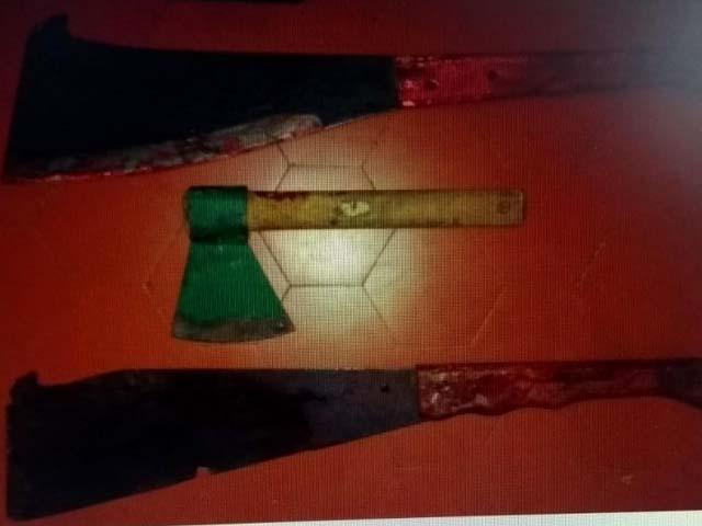 Dois facões e uma machadinha usados nas agressões foram apreendidos. Foto: Guararapessorrisonews