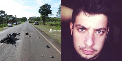 Vitor dos Santos Quitério de 22 anos, morador de Ouro Verde, morreu após bater moto contra traseira de caminhão. fotos:  Jorge Zanoni