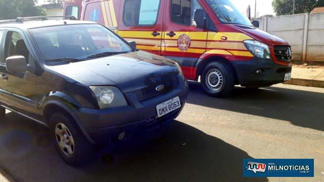 Ford Eco Sport na cor preta sofreu amassamento do capô. Foto: MANOEL MESSIAS/Agência