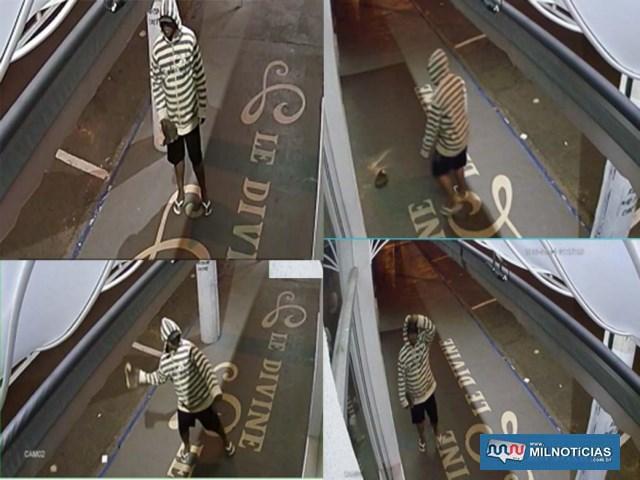 Imagens de câmeras de segurança de uma das lojas flagrou a ação do marginal. Foto: Reprodução