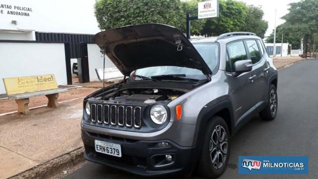 Jeep Renegade tinha queixa de furto na cidade de Santo André, no último dia 24 de abril e motor tinha sinais de adulteração. Foto: MANOEL MESSIAS/Agência