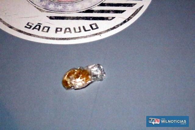 Foi apreendida uma pedra de crack pesando 3 gramas. Foto: MANOEL MESSIAS/Agência