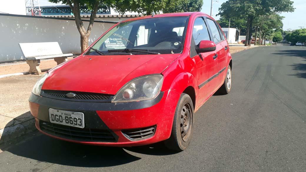 Ford Fiesta com placa de Mirassol/SP, ocupado pela dupla de traficante foi apreendido. Foto: MANOEL MESSIAS/Agência