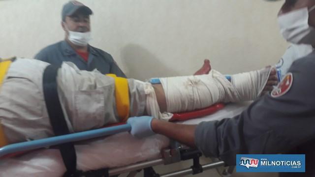 Pedreiro sofreu fratura da canela da perna direita, um corte profundo na perna esquerda, fratura de costela, além de escoriações pelo corpo. Foto: MANOEL MESSIAS/Agência