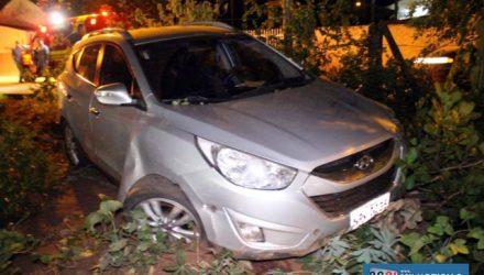 Veículo sofreu algumas avarias ao bater contra o meio fio, além de árvores e palanques de aroeira. Foto: MANOEL MESSIAS/Agência