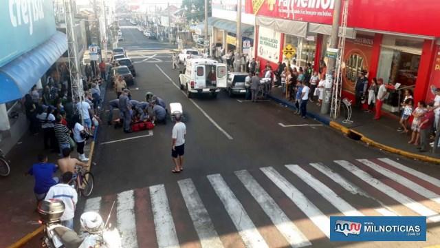 Atropelamento aconteceu na rua Paes Leme, a principal via do comércio andradinense. Foto: MANOEL MESSIAS/Agência