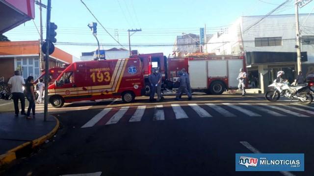 Idosa foi atropelada quando atravessava a rua Paes Leme, a principal via do comércio andradinense e fora da faixa de segurança. Foto: MANOEL MESSIAS/Agência
