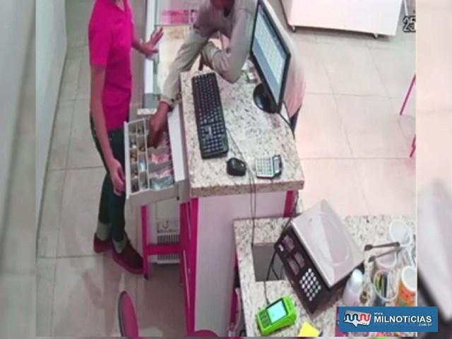 Imagens do circuito de segurança flagraram acusado no momento do roubo à sorveteria. Foto: DIVULGAÇÃO