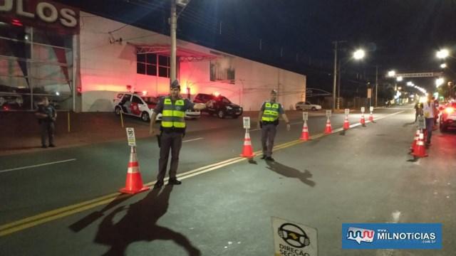 Foram realizados pontos de bloqueio na Av. Guanabara, próximo ao trevo da rodovia Marechal Rondon. Fotos: DIVULGAÇÃO/PM