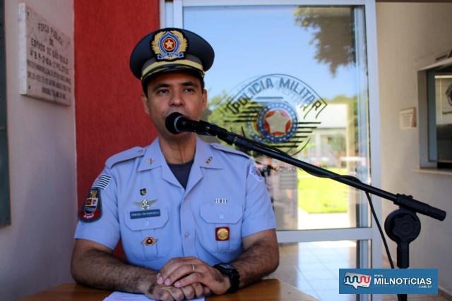 Tenente Coronel PM Marcelo, novo comandante do 28º BPM/I, em Andradina. Foto: MANOEL MESSIAS/Mil Noticias