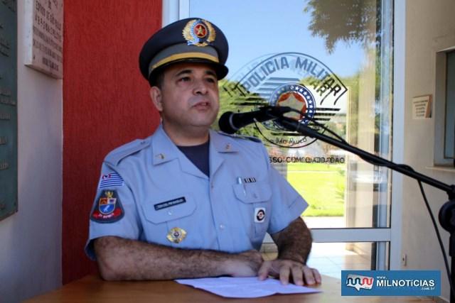 Tenente Coronel PM Basílio, novo comandante do 2º BPM/I, em Araçatuba. Foto: MANOEL MESSIAS/Mil Noticias